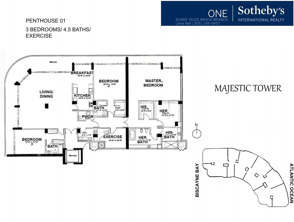 Majestic Bal Harbour Penthouse Floor Plan 1