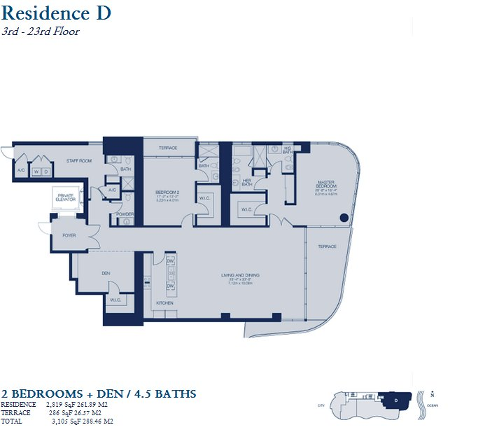 Chateau Beach Residences floor plan residence D