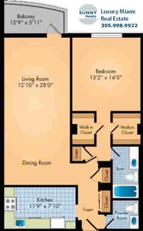 Oceanview Floor Plan One Bedroom Condo