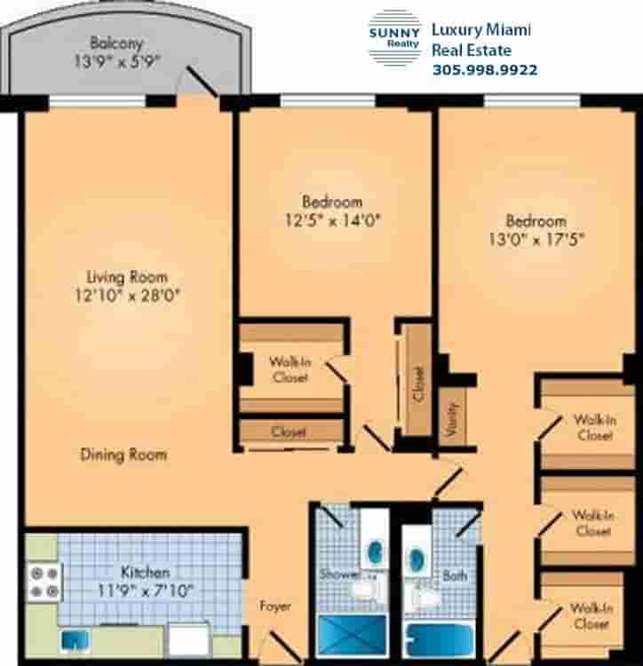 Oceanview Floor Plan Two Bedroom Condo